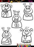 Livro para colorir ajustado dos desenhos animados da emoção do cão Fotografia de Stock Royalty Free