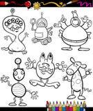 Livro para colorir ajustado dos desenhos animados da fantasia Foto de Stock Royalty Free