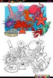 Livro para colorir animal dos caráteres da vida marinha Fotografia de Stock