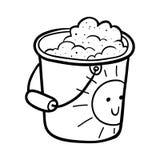 Livro para colorir, balde com areia ilustração stock