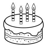Livro para colorir, bolo de aniversário ilustração stock
