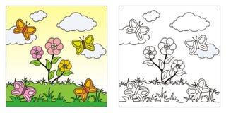 Livro para colorir bonito da natureza para crian?as ilustração royalty free