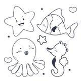 Livro para colorir bonito dos caráteres do mar Imagem de Stock