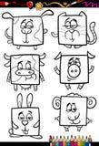 Livro para colorir bonito dos desenhos animados dos animais Imagens de Stock Royalty Free