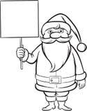 Livro para colorir Canta Claus com cartaz vazio ilustração royalty free