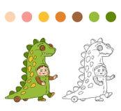Livro para colorir: Caráteres de Dia das Bruxas (traje do dinossauro) Imagens de Stock