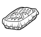 Livro para colorir, cesta do pão ilustração stock