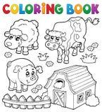 Livro para colorir com animais de exploração agrícola 6 ilustração royalty free