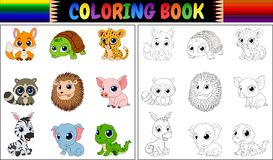 Livro para colorir com coleção dos animais selvagens Imagem de Stock