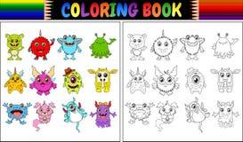Livro para colorir com coleção dos desenhos animados dos monstro Fotos de Stock Royalty Free