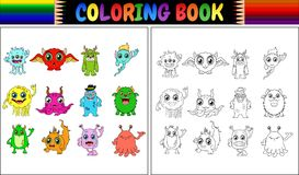 Livro para colorir com coleção dos desenhos animados dos monstro Imagens de Stock Royalty Free