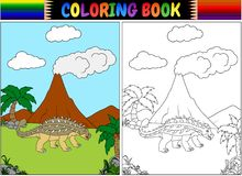 Livro para colorir com desenhos animados dos ankylosaurs ilustração stock