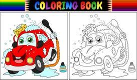 Livro para colorir com lavagem vermelha do carro dos desenhos animados Foto de Stock Royalty Free