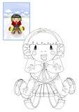 Livro para colorir com a menina no trenó Fotografia de Stock