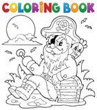 Livro para colorir com pirata de assento Fotos de Stock Royalty Free