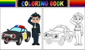 Livro para colorir com polícia e carro de polícia Imagens de Stock