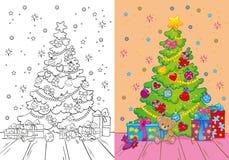 Livro para colorir da árvore e dos presentes de Natal Ilustração Stock