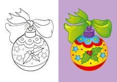 Livro para colorir da bola do amarelo do Natal Ilustração Stock