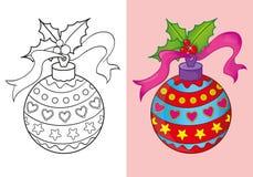 Livro para colorir da bola do vermelho do Natal Ilustração do Vetor