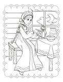 Livro para colorir da boneca bonita das alimentações da menina ilustração stock