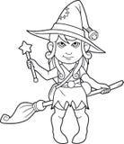 Livro para colorir da bruxa dos desenhos animados Imagem de Stock
