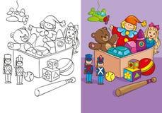 Livro para colorir da caixa com brinquedos diferentes Ilustração Stock