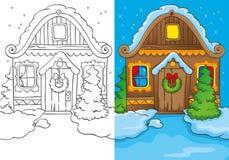 Livro para colorir da casa do Natal na noite Ilustração Stock