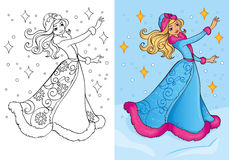 Livro para colorir da donzela da neve no traje tradicional Ilustração do Vetor