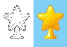 Livro para colorir da estrela do ouro do Natal para a árvore Ilustração Stock