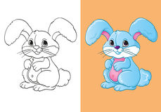 Livro para colorir da lebre pequena azul bonito Ilustração Stock