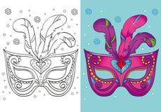 Livro para colorir da máscara roxa do carnaval do Natal Ilustração Royalty Free