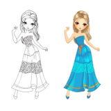 Livro para colorir da menina de Boho Imagem de Stock