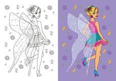 Livro para colorir da menina no traje feericamente Ilustração Stock
