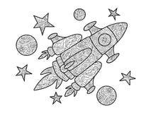 Livro para colorir da nave espacial dos desenhos animados para o vetor dos adultos ilustração stock