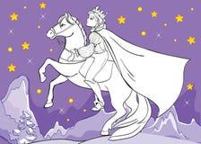Livro para colorir da noite do príncipe Rides Horse At Ilustração Royalty Free