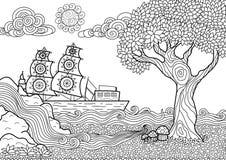 Livro para colorir da paisagem Fotografia de Stock Royalty Free