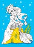 Livro para colorir da sereia da beleza que senta-se na pedra Ilustração do Vetor