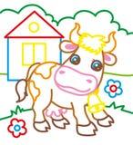 Livro para colorir da vaca na exploração agrícola Imagens de Stock Royalty Free
