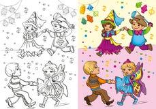 Livro para colorir das crianças em trajes do carnaval Ilustração Stock