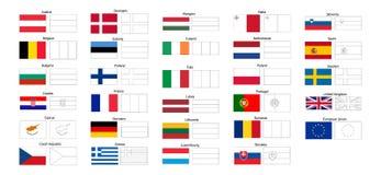 Livro para colorir de bandeiras de países da UE ilustração royalty free