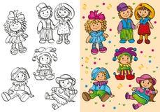 Livro para colorir de bonecas bonitos diferentes Ilustração Royalty Free