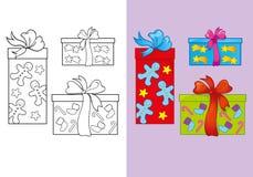 Livro para colorir de caixas de presente do Natal do grupo Ilustração Stock