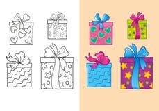 Livro para colorir de caixas de presente do quadrado do Natal do grupo Ilustração do Vetor