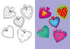 Livro para colorir de corações diferentes do grupo Ilustração do Vetor