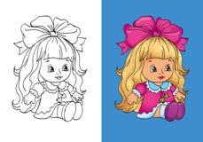 Livro para colorir de Dall bonito no vestido cor-de-rosa Ilustração Stock