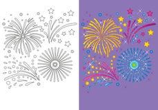 Livro para colorir de fogos-de-artifício do Natal Ilustração Royalty Free