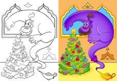 Livro para colorir de Genie Conjured uma árvore de Natal Ilustração do Vetor