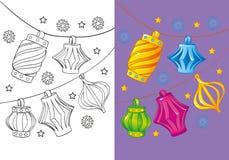 Livro para colorir de luzes de Natal Ilustração do Vetor