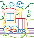 Livro para colorir de passeios do trem Fotos de Stock Royalty Free