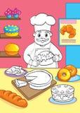 Livro para colorir de pastelarias de With Cakes And do cozinheiro Ilustração do Vetor